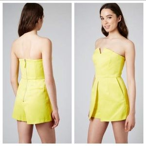 Topshop Neon Yellow Strapless Skirt Romper Size 4